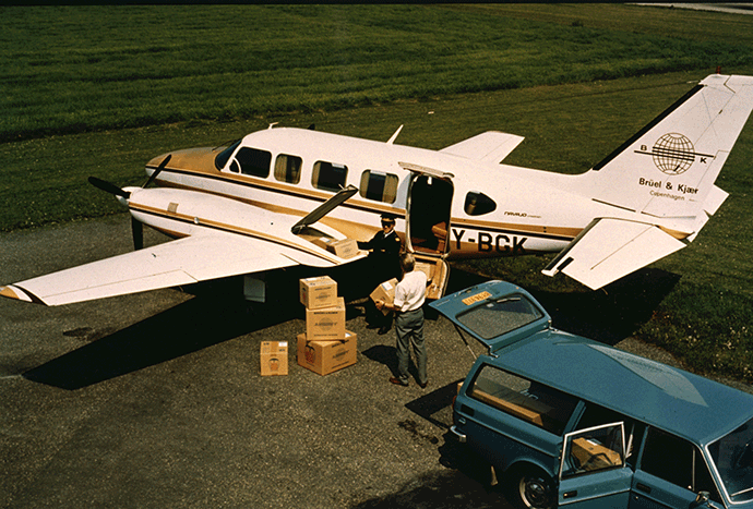 A small fleet of Brüel & Kjær owned and operated planes were used to deliver goods and to visit customers