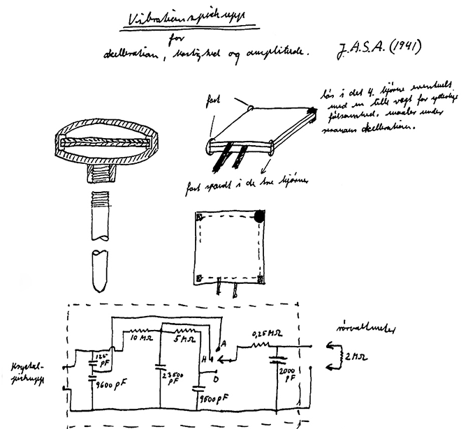 Hand drawing of the world's first piezoelectric accelerometer
