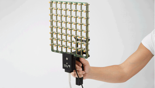 Hand-held array. Both acoustic data and source geometry can easily be acquired using the hand-held array with integrated position detecting system.