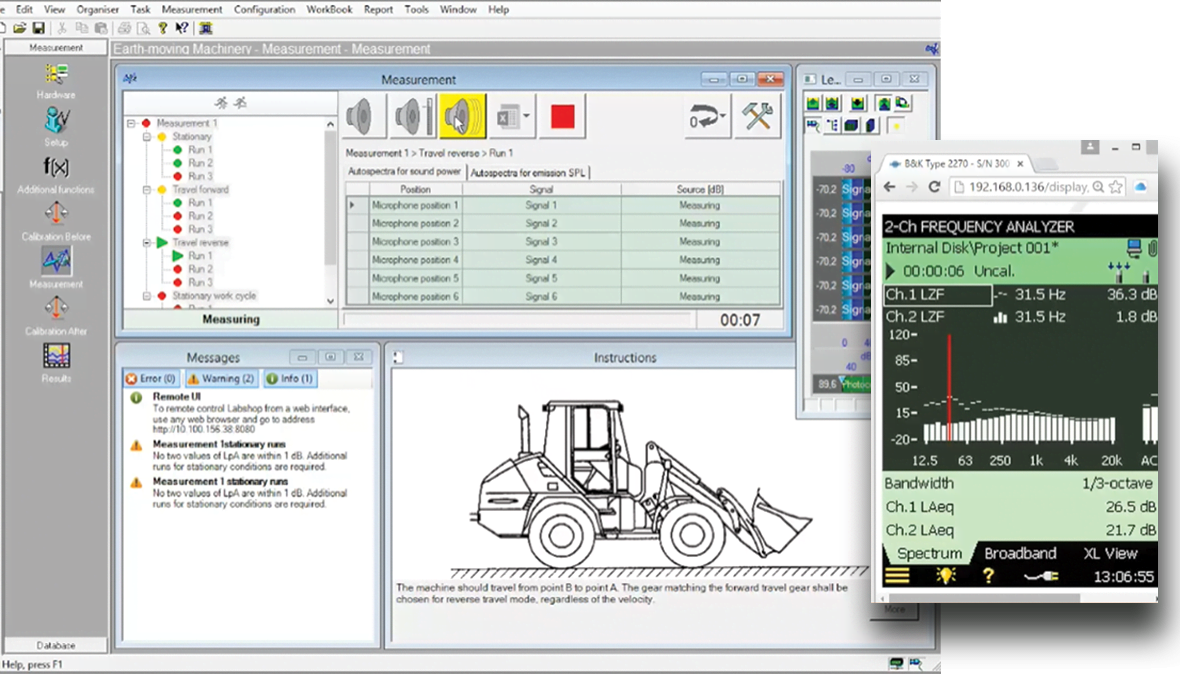 Earth-moving machinery noise software
