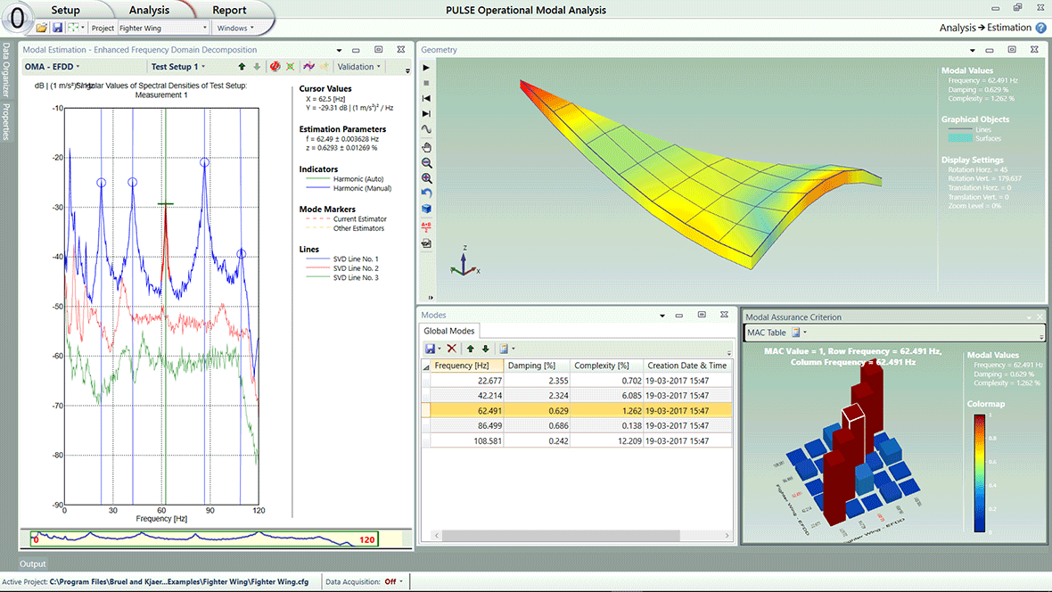Operational Modal Analysis Type 8761 - Modal identification of an aircraft wing tip by peak-picking using the enhanced frequency domain decomposition (EFDD) technique.