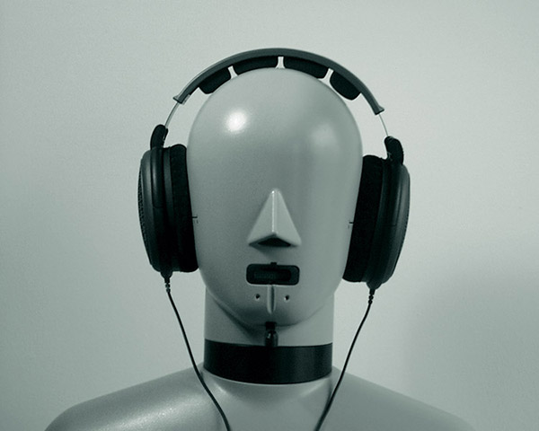 HATS (Head and Torso Simulator) Type 4128-C with headphones