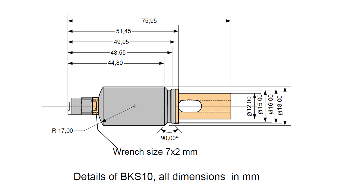 Dimensional drawing of BKS10 - Structure-borne noise sensor