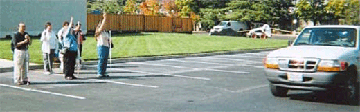 Example vehicle pass by of blind jury participants