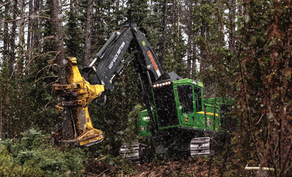 A forestry machine may use a transversely mounted engine