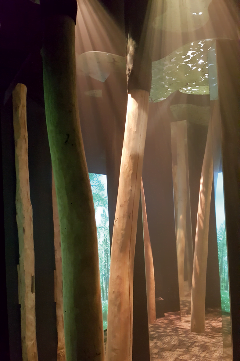 Vibrating, music-playing, 3-metre-high tree trunks in the 'Tunnel of Senses'