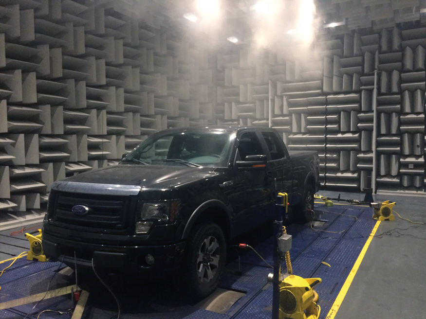 Climate-controlled semi-anechoic test chamber