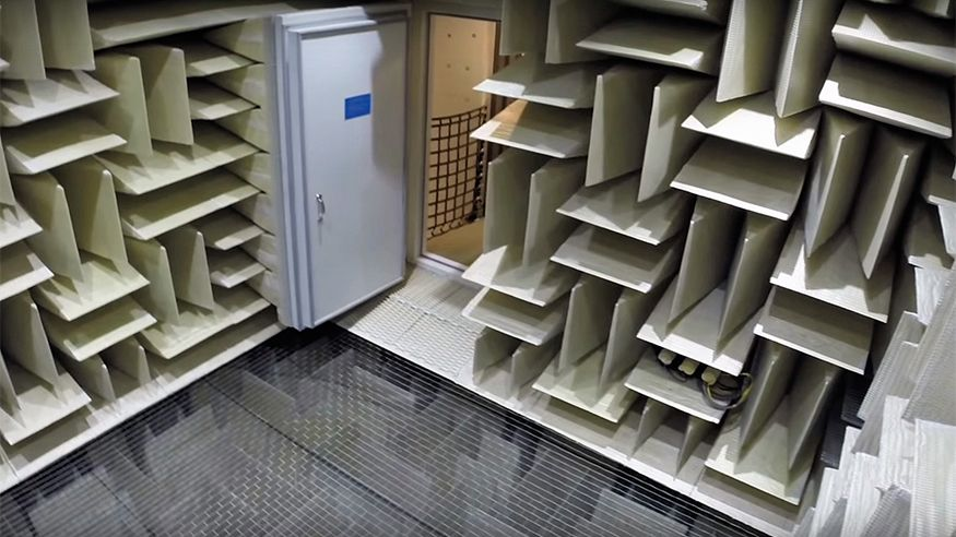 The anechoic chamber in building 87, with a background noise level of –20.6 dB(