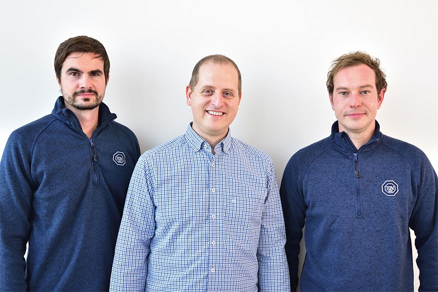 TÜV SÜD's technical acoustic experts. From left: Michael Gail, Sebastian Rieger and Thomas Heichele